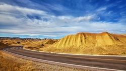 Scenic road in Badlands National Park, South Dakota, USA.