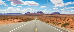 Scenic road Route 163 to Monument Valley National Park (Arizona, Utah, United States)