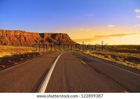 Scenic road through Vermilion cliffs in Arizona