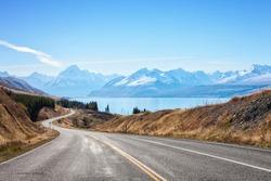 Scenic Road to Mount Cook National Park (near  Lake Pukaki) ,South Island, New Zealand.