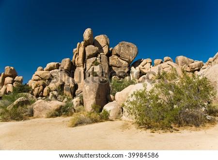 scenic rocks in Joshua Tree National Park in Hidden valley - stock