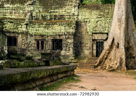 Scenic ruins of the famous Ta Prohm temple in Cambodia, Siem Reap province