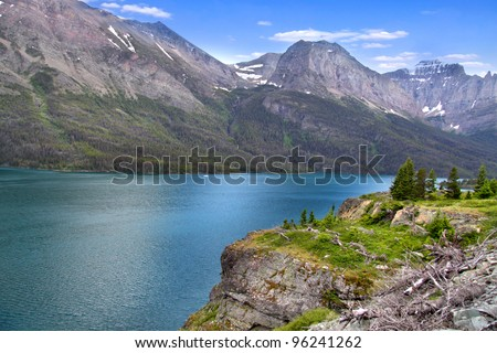 Scenic Saint Mary lake in Montana