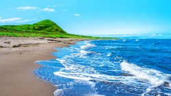 Scenic seascape. Picturesque coast of Japanese sea of Sakhalin island, Russia. Sakhalin is the largest island of the Russian Federation. Sea of Okhotsk. Strait of Tartary.