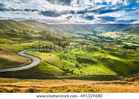 Scenic Serpentine Road in Peak District UK