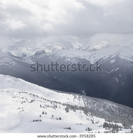Scenic shot of mountain peaks in Whistler, Canada.