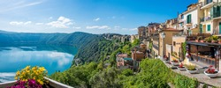 Scenic sight in Castel Gandolfo, with the Albano lake, in the province of Rome, Lazio, central Italy.