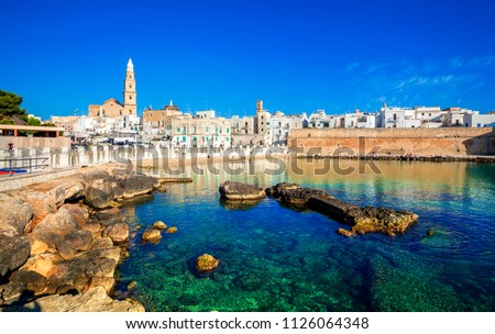 Scenic sight in Monopoli, province of Bari, region of Apulia, southern Italy. City scape harbor walled city Cathedral.