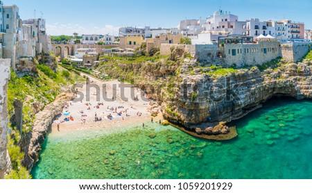 Scenic sight in Polignano a Mare, Bari Province, Apulia (Puglia), southern Italy. #1059201929
