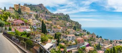 Scenic sight in Taormina, famous beautiful city in the Province of Messina, Sicily, southern Italy.