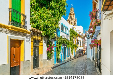 Scenic sight in the picturesque Cordoba jewish quarter with the bell tower of the Mosque Cathedral. Andalusia, Spain.