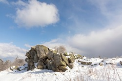 scenic snow landscape in Germany, Hesse at mountain  Feldberg with Brunhildis rock