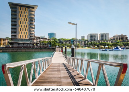 Scenic spot at Darwin Waterfront Wharf, Kitchener Bay, Northern Territory, Australia. The Darwin Waterfront is a popular place for restaurants, shops, water sports, and cruise ships.