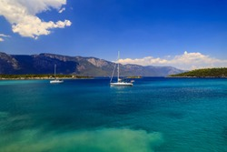 Scenic spring, summer sea landscape,  White yachts in the picturesque sea in Turkey, near Bodrum and Marmaris, excursions, travel, recreation, summer rest, vacation, space