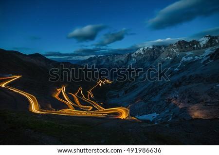 Scenic Stelvio Pass. Italian Mountain Pass Road Scenery