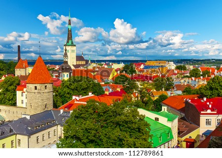 Scenic summer aerial panorama of Tallinn, Estonia