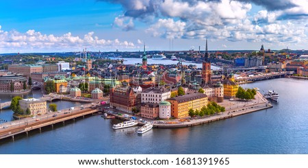 Scenic summer aerial panoramic view of Gamla Stan in the Old Town in Stockholm, capital of Sweden Сток-фото ©