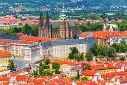Scenic summer aerial view of Saint Vitus Cathedral church architecture in the Old Town of Prague, Czech Republic