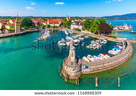 Scenic summer aerial view of the Old Town pier architecture in Lindau, Bodensee or Constance lake, Germany