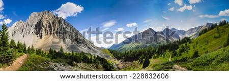Scenic summer mountain hiking landscapes of Ptarmigan Cirque, Peter Lougheed Provincial Park Kananaskis Country Alberta Canada