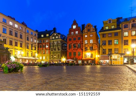 Scenic summer night view of the Big Square (Stortorget) in the Old Town (Gamla Stan) in Stockholm, Sweden