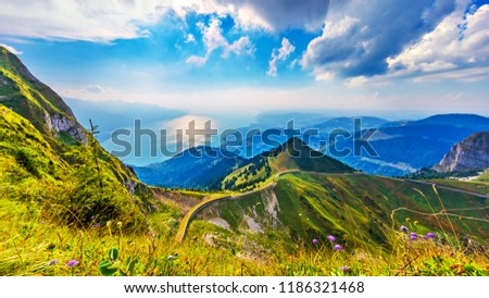 Scenic summer panorama from Rochers de Naye mountain peak with green grassy hills, flower meadows and Geneva Lake in Alps, Switzerland Photo stock ©