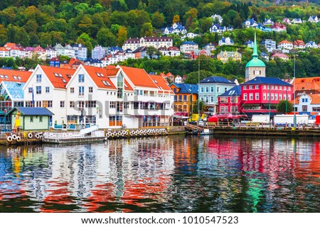 Scenic summer panorama of the Old Town pier architecture of Bryggen in Bergen, Norway #1010547523