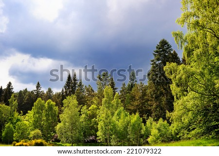 Scenic summer view of Balmoral castle park, summer home of the British royal family