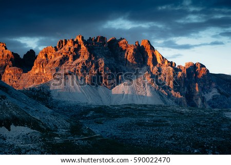Scenic surroundings of the national park Tre Cime di Lavaredo. Dramatic and gorgeous scene. Location place Misurina, Dolomiti alp, South Tyrol, Italy, Europe. Beauty world. Artistic picture.