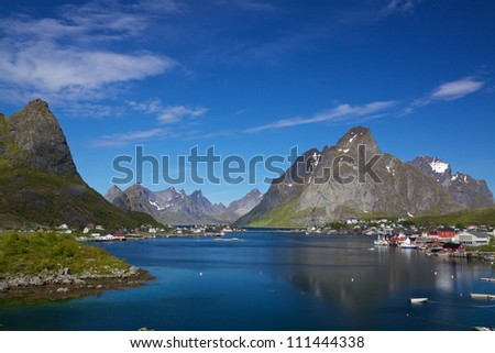 Scenic town of Reine by the fjord on Lofoten islands in Norway
