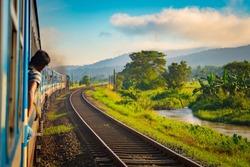 Scenic train view on the road from Colombo to Anuradhapura, SriLanka.