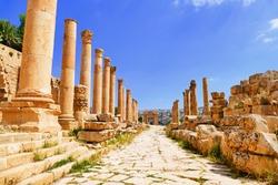 Scenic View Ancient Greco-Roman Corinthian Columns on Colonnaded Cardo to The North Tetrapylon in The Historic Roman City of Gerasa in Jerash, Jordan