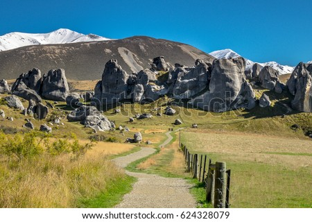 Scenic View around Castle Hill with Castle Hill Peak in the Background Locate in South Island of New Zealand