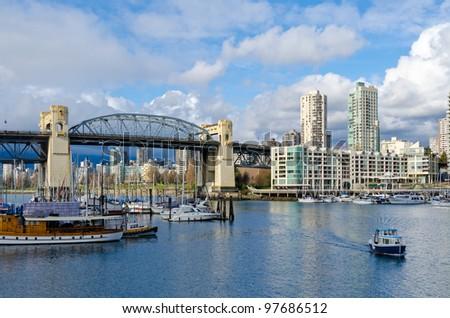 Scenic view at Burrard Bridge from Granville Island, Vancouver, Canada.