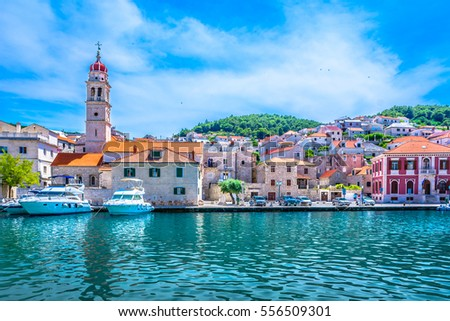 Scenic view at mediterranean town on Island Brac, popular travel destination in Croatia, european summer resort. / Selective focus.