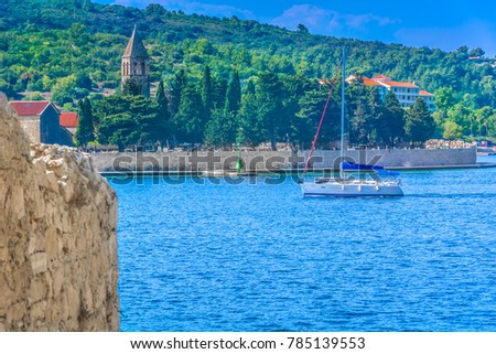 Scenic view at Vis island sailing destination in Southern Croatia, european travel destinations. / Selective focus. #785139553
