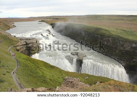 Scenic view from above on Iceland's Gulfoss waterfall with people walking down the pathway along the canyon