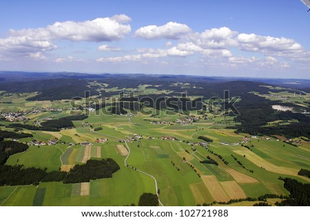 scenic view from an airplane. meadows, fields and fields