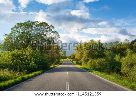 Scenic view from asphalt road in the mountains. Against the background of mountains, blue sky and clouds. High Tatras. Trees and bushes on both side of the road leading to the mountains. #1145121359