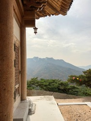 scenic view from buddhist temple on bukhan mountain in bukhansan national park, gyeonggi, south korea