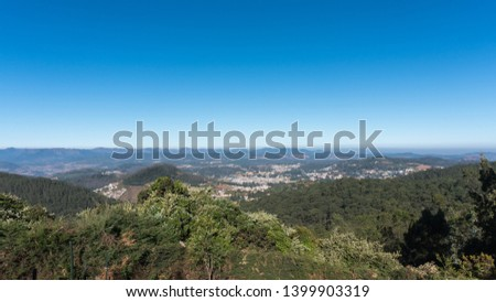 scenic view from Doddabetta peak, highest peak in nilgiri district, forest reserve with the blue sky background.
