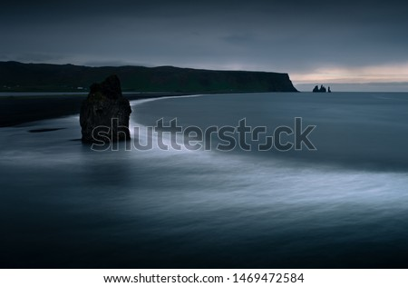Scenic view from Dyrholaey to Reynisfjara beach against cloudy sky during sunset. View from Dyrholaey penisula #1469472584