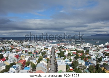 Scenic view from Halgrimskirkja church down on the city of Reykjavik, capital of Iceland