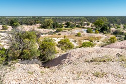 Scenic view from Nettleton's First Shaft Lookout in Lightning Ridge, New South Wales, Australia