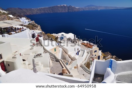 stock photo Scenic view from Oia Santorini Greece