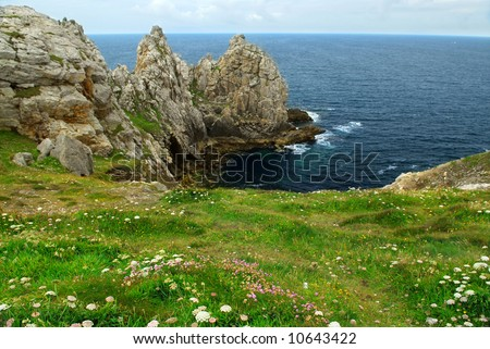 Scenic view from Pointe de Penhir on Atlantic coast in Brittany, France. Focus on foreground flowers.