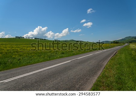 Scenic view from the asphalt road among meadows with yellow flowers on a background of mountains and blue sky with clouds