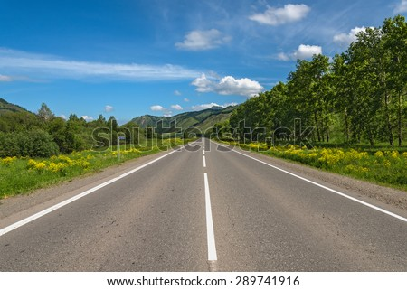 Scenic view from the asphalt road, mountains, trees, meadow with yellow flowers against a blue sky with clouds