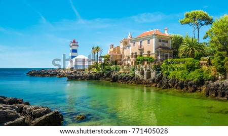 Scenic view in Cascais, Santa Marta Lighthouse and Museum, Lisbon district, Portugal. #771405028