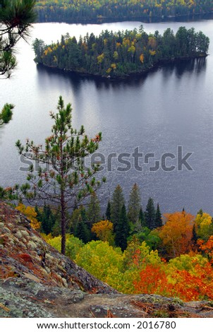 Scenic view of a lake and islands in Algonquin provincial park Ontario Canada from hill top